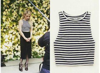 top stripes striped top emma roberts sandals midi skirt crop tops