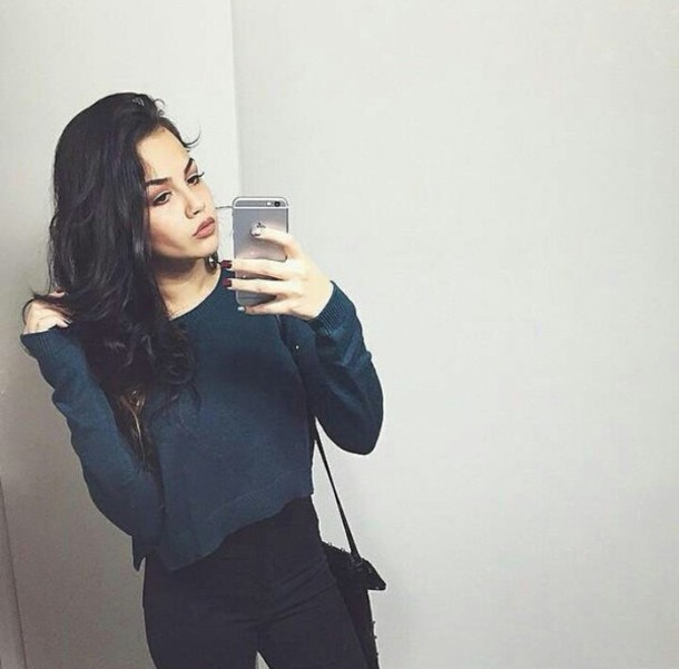 sweater blue sweater cropped sweater