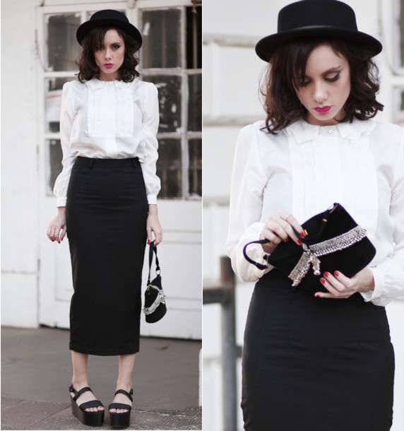 Blouse: white blouse, skirt, black pencil skirt, pencil skirt ...
