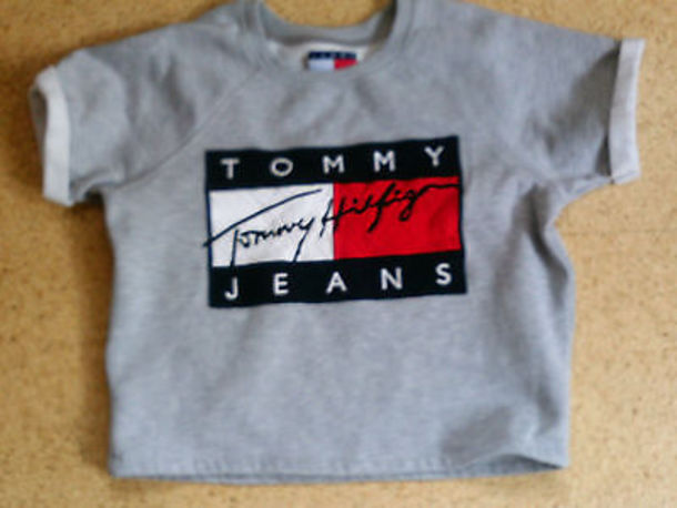 top grey tommy hilfiger t-shirt tommy hilfiger crop top shirt tommy hilfiger shirt tommy hilfiger shorts t-shirt fashion