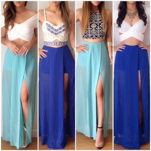 skirt maxi skirt side slit maxi skirt, long skirt, skirt, croptop, short top, top, shirs, black, clothes