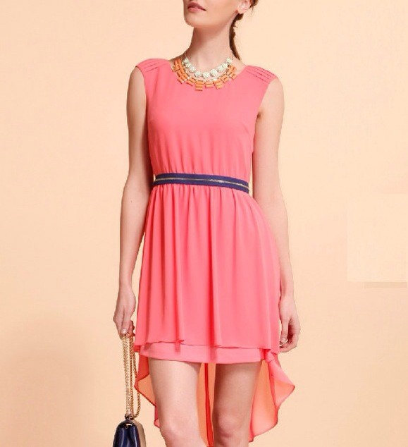 Low party dress / cocktail dress in watermelon red