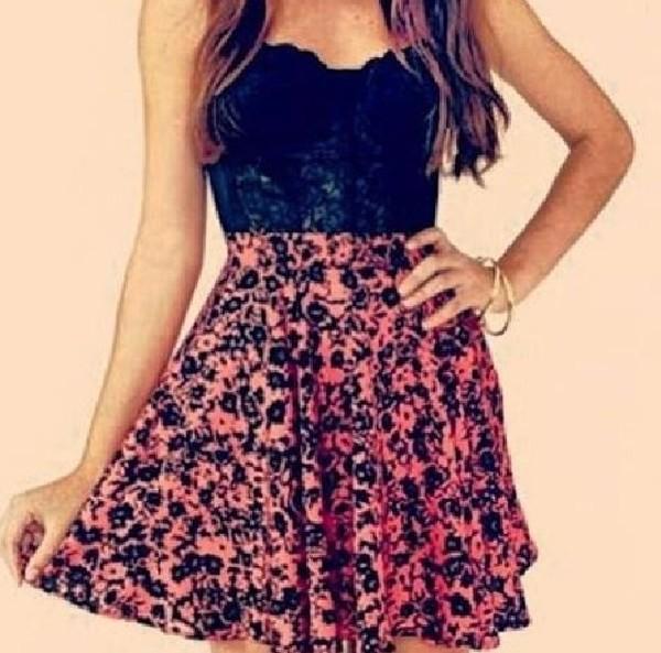 skirt floral tank top floral skirt tank top jewels flowers cute