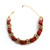 Red woven leather and chain choker necklace