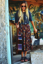 skirt,flowers,hippie,long skirt,shirt,floral,high waisted skirt,maxi skirt,vintage,hipsta,hipster,slit skirt,green,blonde hair,long hair,clothes,cute outfits,swag,dope,blouse,the beatles,guitar,boots,bag,floral skirt,flower child,boho,floral floor length boho skiirt