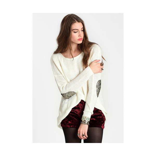 First move sequined elbow patch sweater