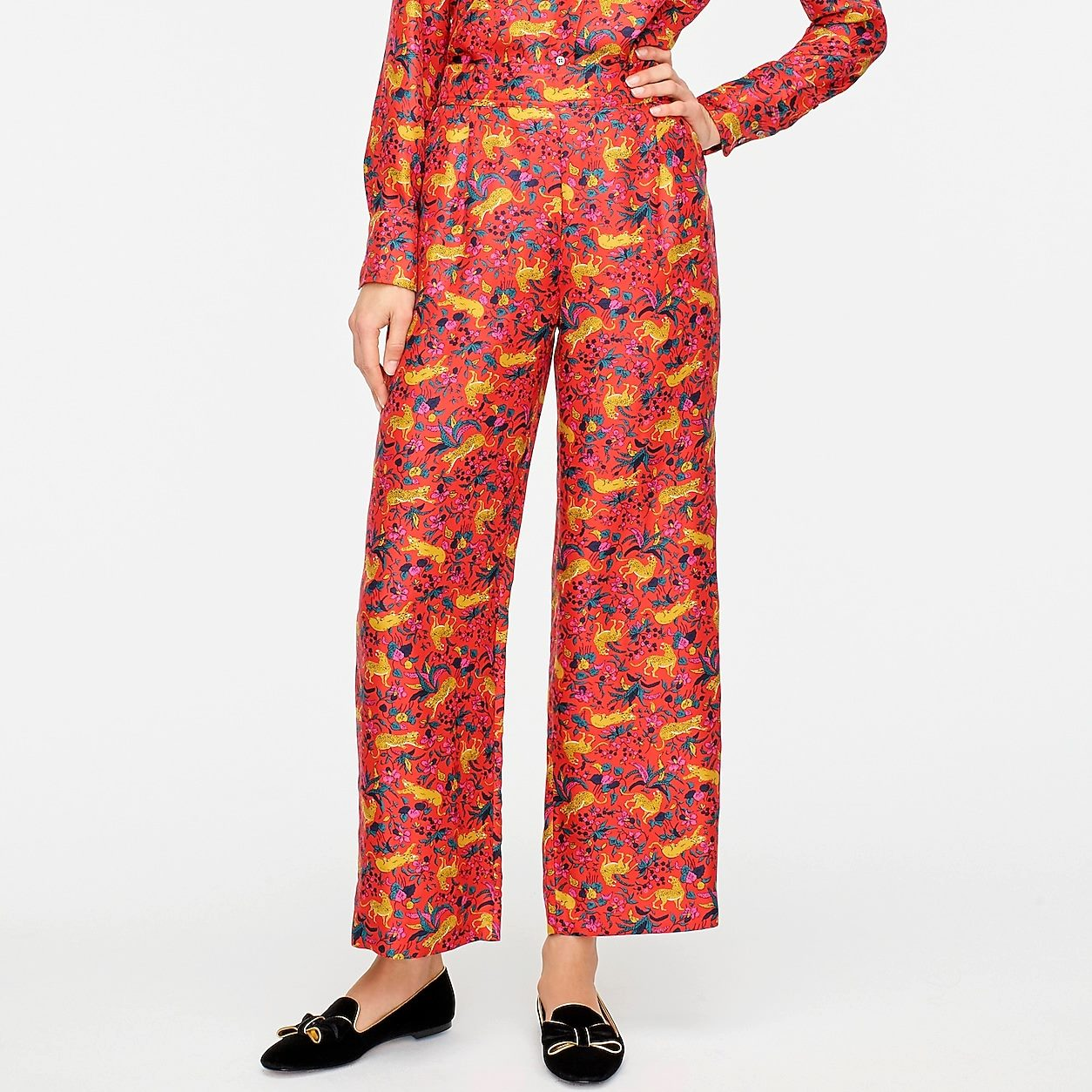 Collection Silk Twill Pull-On Pant In Jungle Cat Floral Print