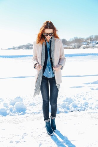 prosecco and plaid blogger scarf jeans denim shirt jacket shoes shirt coat sunglasses jewels