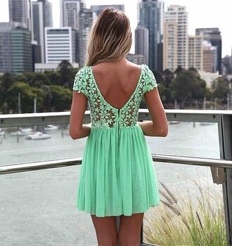 dress pastel mint crochet low cut back