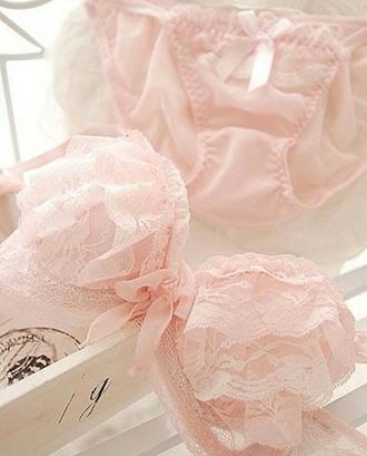 underwear pastel pink bra ruffle lace
