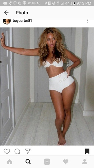swimwear white high waisted bikini beyonce