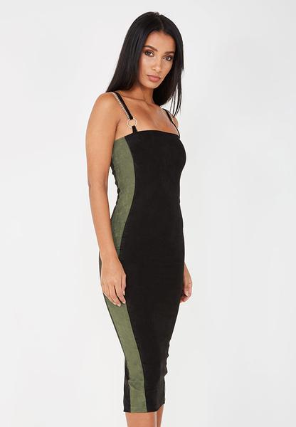 Chain Strap Suede Midi Dress - Black