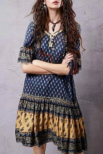 dress ethnic half sleeve