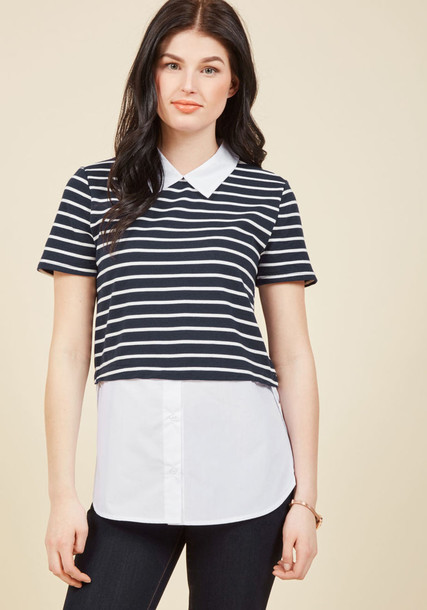 Et60875a top white top casual layered business casual navy white blue knit blue and white