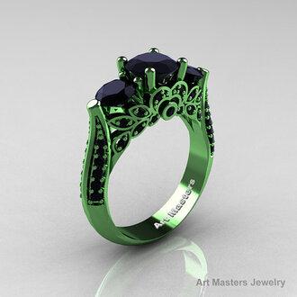 jewels green gold black diamond diamonds classicengagementring luxurious ring engagement ring promise ring three stone rings 1 carat diamond ring wedding ring