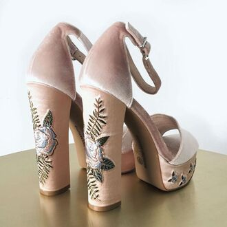 shoes chinese laundry heels nude black velvet roses floral pumps sandals baddies