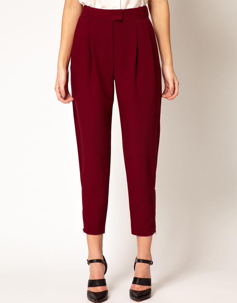 ASOS Trousers w/ Zip Hem NEW Burgundy Size 2 US SOLD OUT ON OTHER SITES