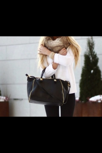 white white sweater sweater watch gold bag black fur leggings winter outfits scarf fur scarf