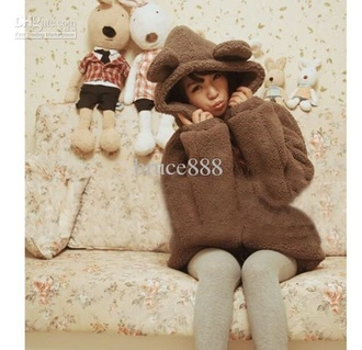 jacket bear cozy kawaii