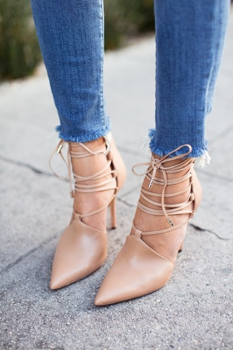 shoes heels nude high heels nude lace up pointed toe court heels