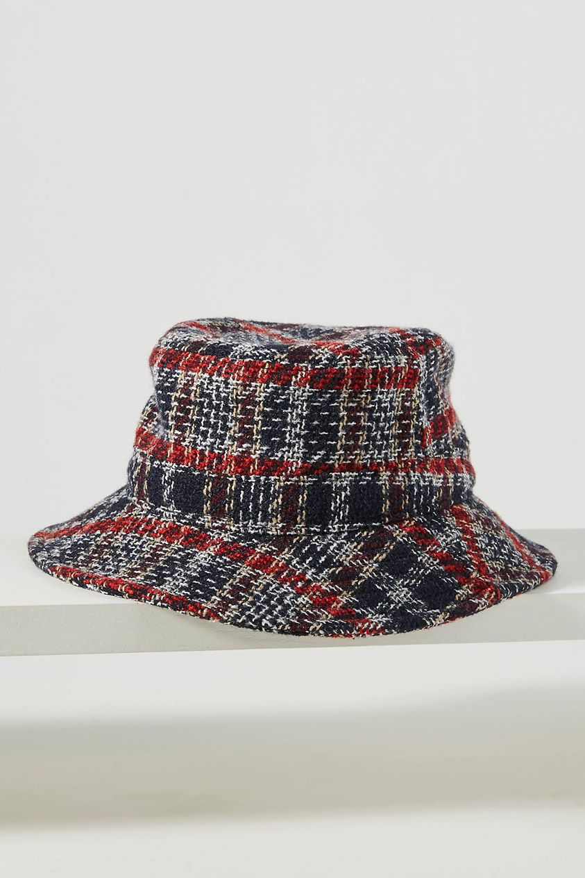 Plaid Reversible Bucket Hat by Attack in Blue