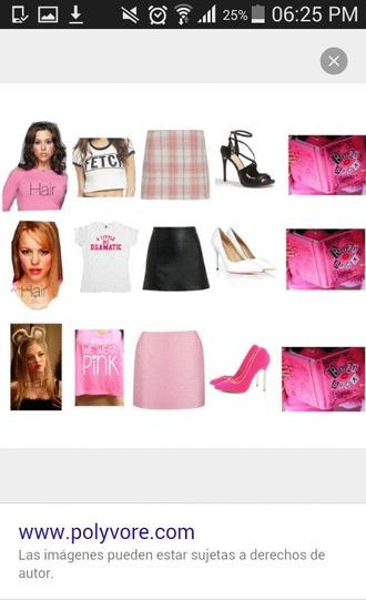 shirt skirt high heels top pink mean girls pretty girly girl girly wishlist