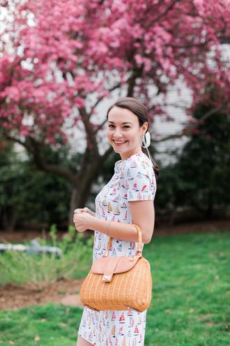 thecollegeprepster blogger dress bag shoes jewels handbag summer dress summer outfits