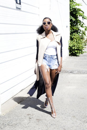 locks and trinkets blogger clear shoes slit dress natural hair sleeveless jacket spring outfits summer outfits