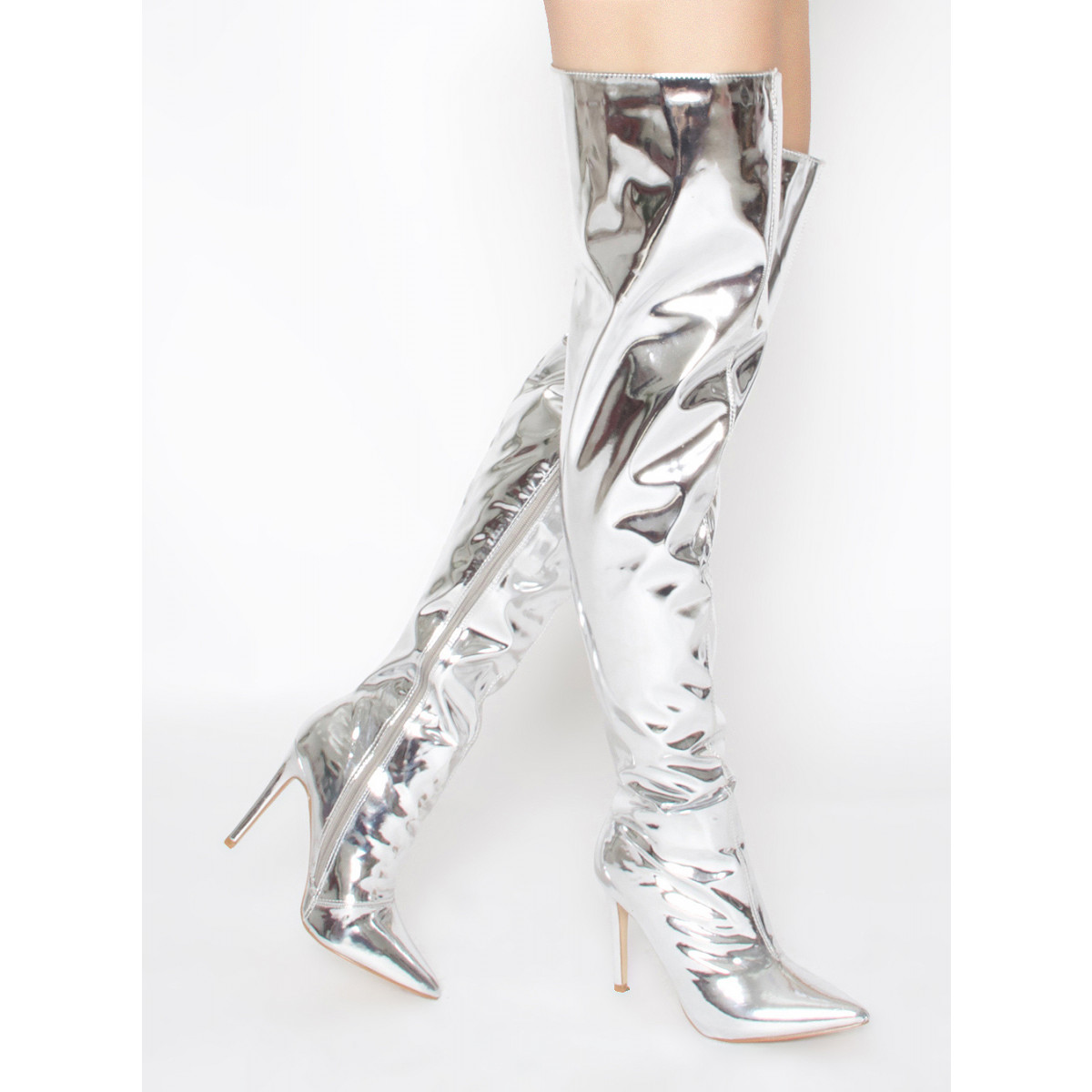 Aden Silver Metallic Stiletto Thigh High Boots : Simmi Shoes