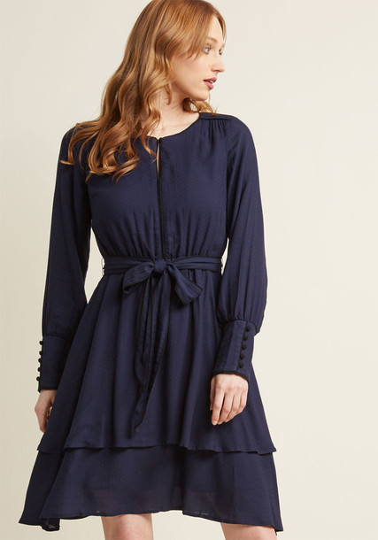 Modcloth dress long sleeve dress long blue