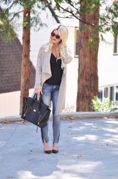 love maegan,blogger,cardigan,jeans,sunglasses,jewels,bag,sweater,shoes