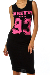 Shopaholicfashionistas — forever 93 varsity pink and black printed bodycon dress