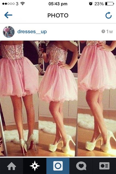 dress prom dress short pretty prom pink diamantes gems girl