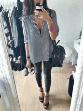 shirt,stripes,white,black and white,leggings,leather,heels,wardrobe,tumblr,classy,purse,bag,button up blouse,button up,button up shirt,black,shoes,blouse