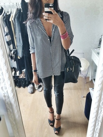 shirt stripes white black and white leggings leather heels wardrobe tumblr classy purse bag button up blouse button up button up shirt black shoes blouse