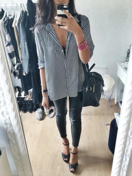 Shirt Stripes Stripes White Black And White Leggings Leather Heels Wardrobe Tumblr ...