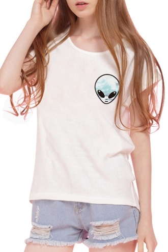 t-shirt alien white cool fashion style trendy summer funny teenagers beautifulhalo