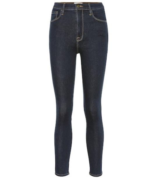 Frame Ali high-rise cigarette jeans in blue