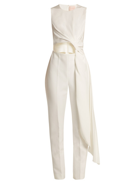 ROKSANDA Thurloe cut-out knot-front crepe jumpsuit in ivory