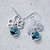 Silver Chandelier Earrings, Lotus, Teal Blue Jewel, Dangle, Bohemian, Wedding $30.00