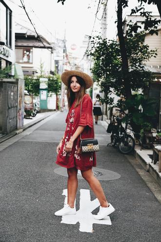 lovely pepa blogger dress shoes bag hat straw hat red dress shoulder bag sneakers
