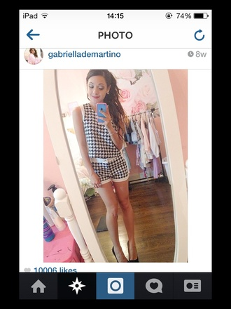 gabi demartino dogtooth houndstooth outfit co-ord matching set black and white girly top heels romper