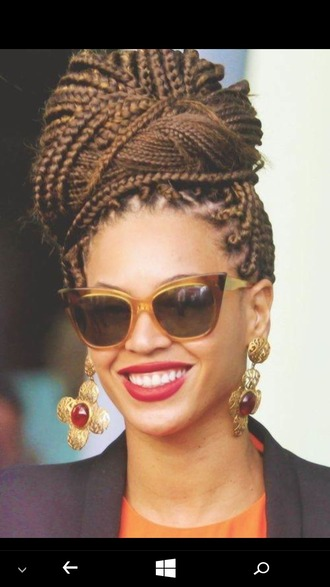 sunglasses retro sunglasses ombre red lipstick earrings statement earrings beyonce hair extensions box braids