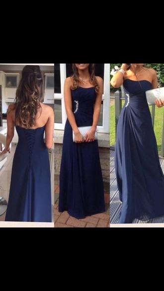dress prom corset back navy dress strapless