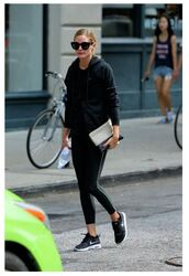jacket,hoodie,sneakers,olivia palermo,streetstyle,sunglasses,blogger,purse,bag,all black everything,black leggings,black sneakers,nike,nike sneakers,nike shoes,workout,workout leggings,sportswear,sports leggings,cat eye,black sunglasses,pouch,shoes