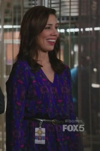 dress purple long sleeves angela montenegro bones tv show michaela conlin