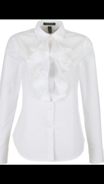 blouse white ruffle front