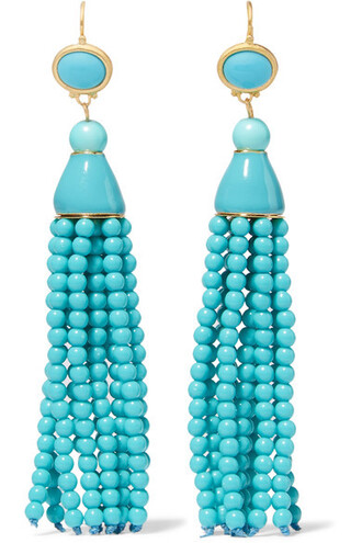 beaded earrings gold turquoise jewels