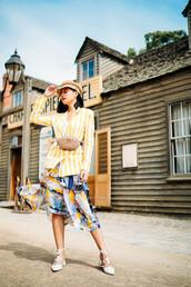 olivia lazuardy,blogger,hat,jacket,skirt,bag,shoes,fisherman hat,belt bag,blazer,gucci bag,spring outfits