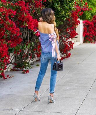 top tumblr blue top off the shoulder off the shoulder top denim jeans blue jeans pumps pointed toe pumps high heel pumps shoes